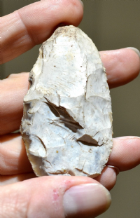 "An excellent Neolithic Unifacial flint ""leaf shaped"" spearhead found in Central France c.1910. SOLD"